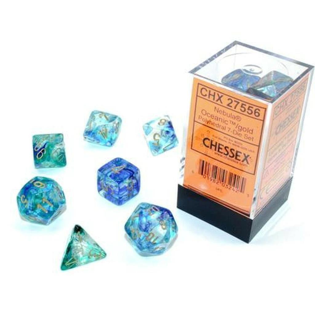 CHESSEX: Nebula Oceanic/Gold 7-Die RPG Set