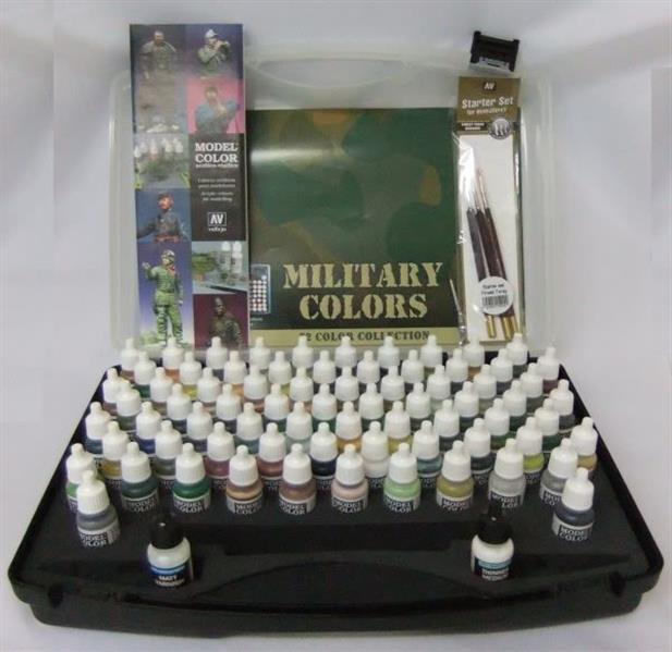 Vallejo Model Color: Military Colours - 72 Farben, 3 Pinsel