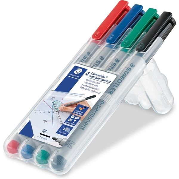Water Soluble Markers: 4-Pack (Red,Blue,Green,Black)