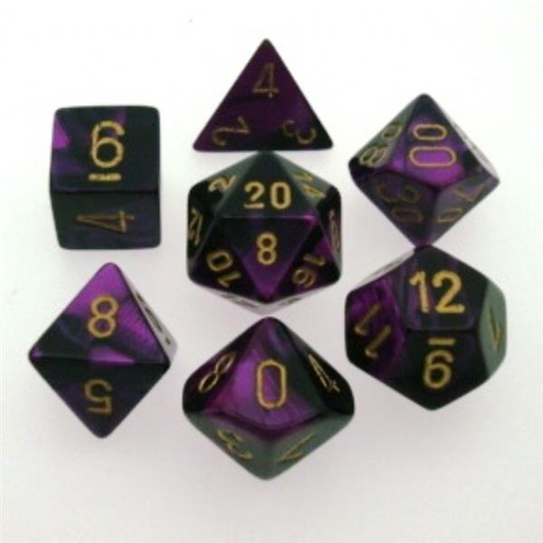 CHESSEX: Gemini Black-Purple/Gold 7-Die RPG Set