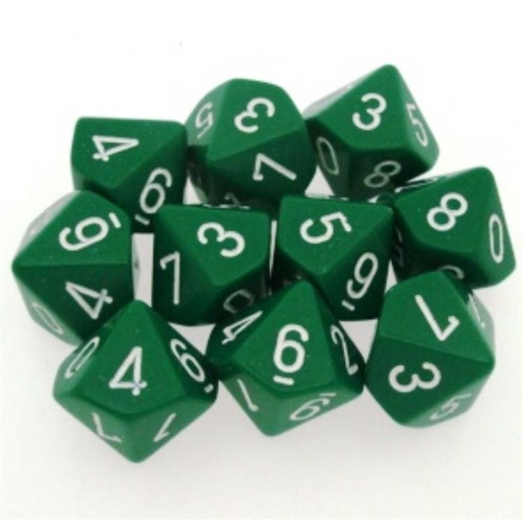 CHESSEX: Opaque Green/White 10 x 10 sided Diceset