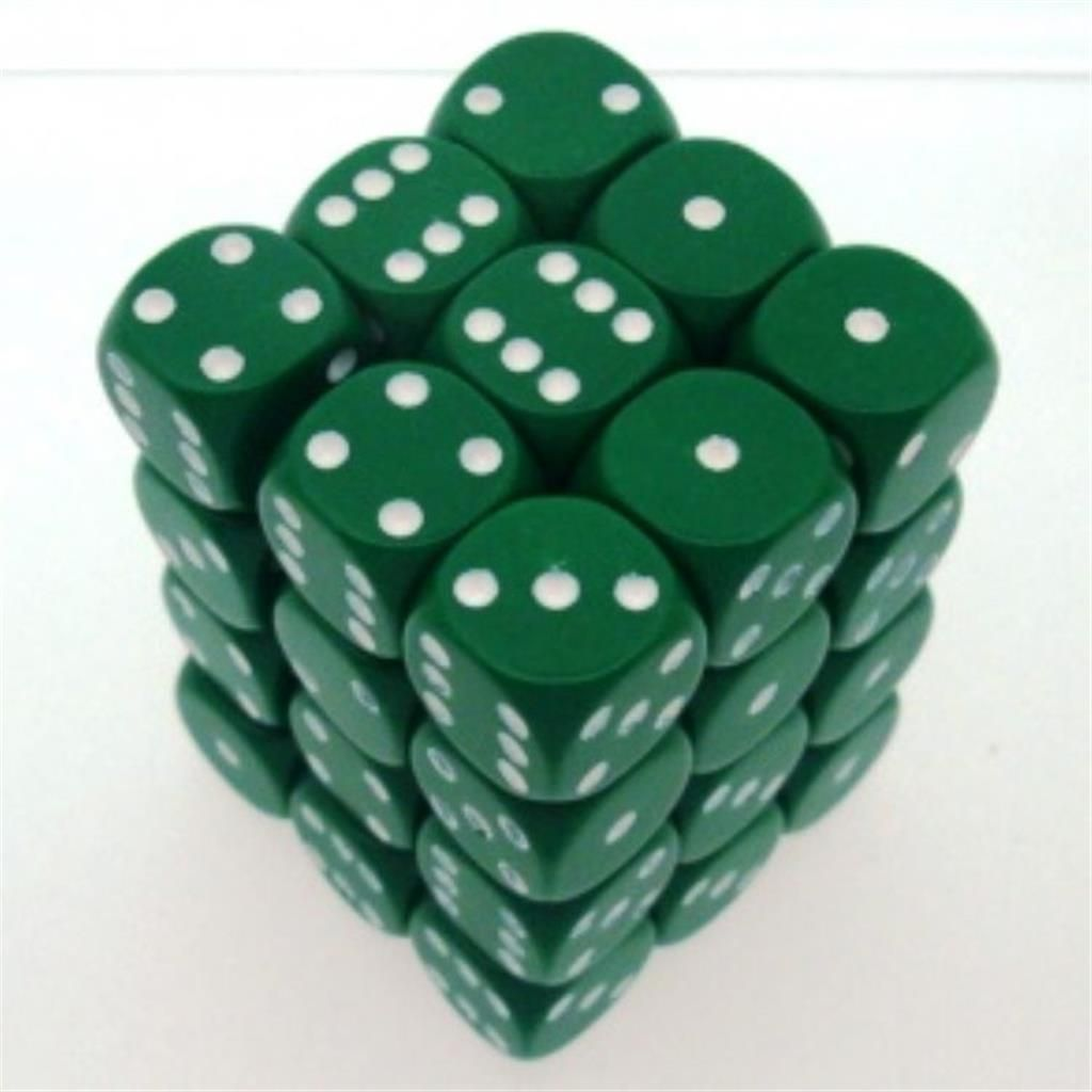 CHESSEX: Opaque Green/White36 x 6 sided Diceset