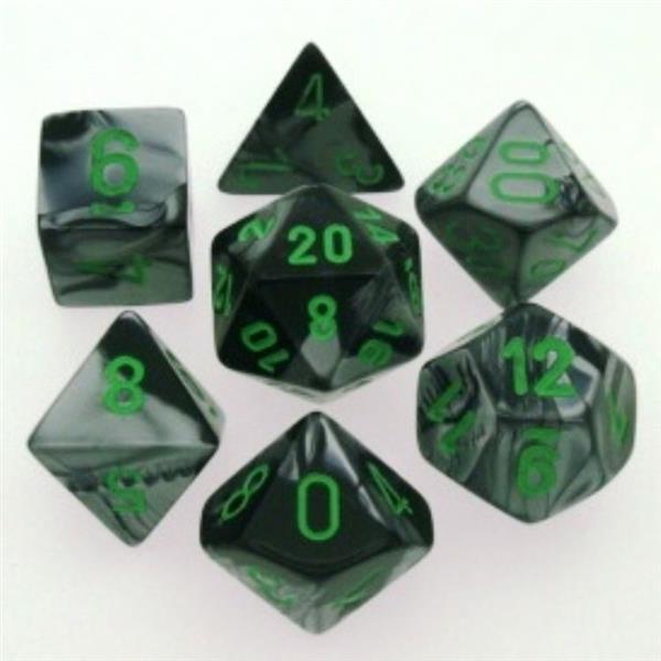 CHESSEX: Gemini Black-Grey/Green 7-Die RPG Set