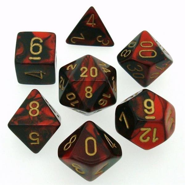 CHESSEX: Gemini Black-Red/Gold 7-Die RPG Set
