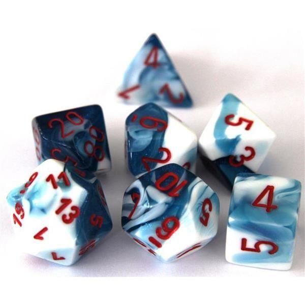 CHESSEX: Gemini Astral Blue-White/Red 7-Die RPG Set