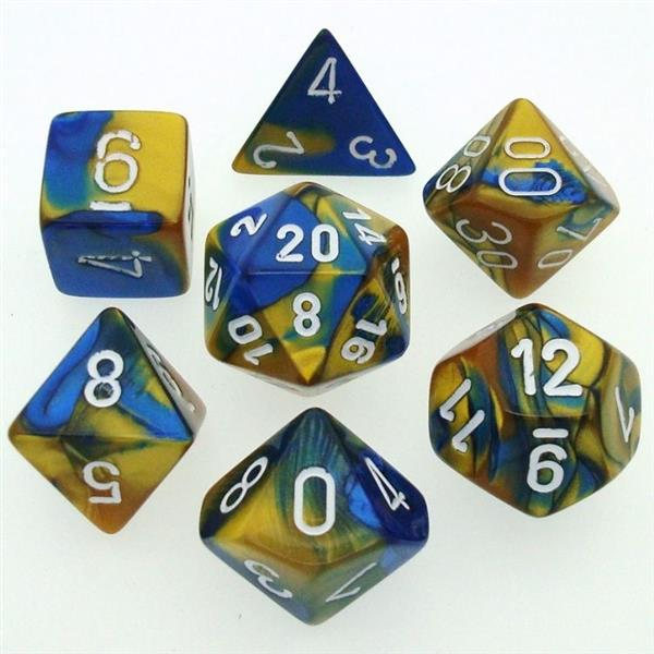 CHESSEX: Gemini Blue-Gold/White 7-Die RPG Set