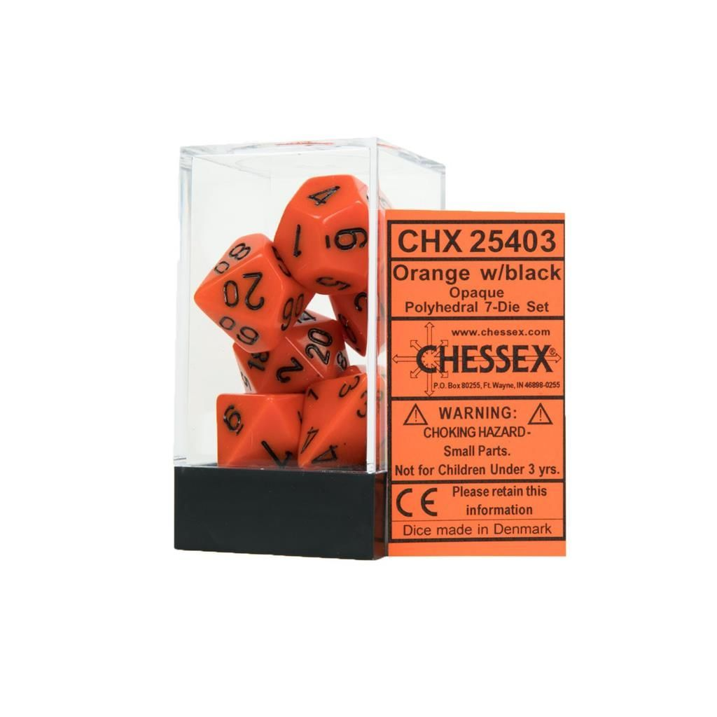 CHESSEX: Opaque Orange/Schwarz 7-Würfel RPG Set