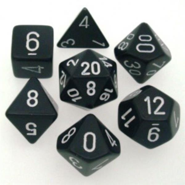 CHESSEX: Opaque Schwarz/Weiß 7-Würfel RPG Set