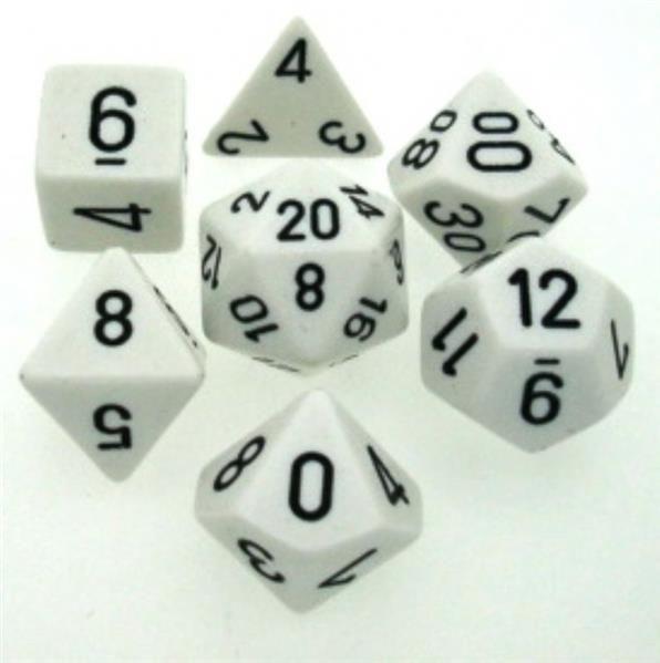CHESSEX: Opaque Weiß/Schwarz 7-Würfel RPG Set
