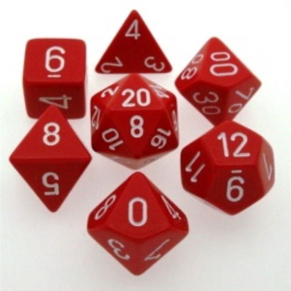 CHESSEX: Opaque Rot/Weiß 7-Würfel RPG Set